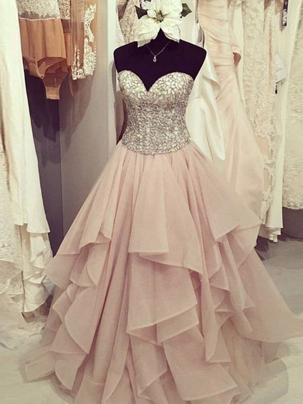 Floor-Length Ball Gown Sweetheart Sleeveless Beading Chiffon Dresses