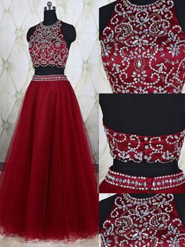 Floor-Length A-Line/Princess Jewel Sleeveless Beading Tulle Dresses