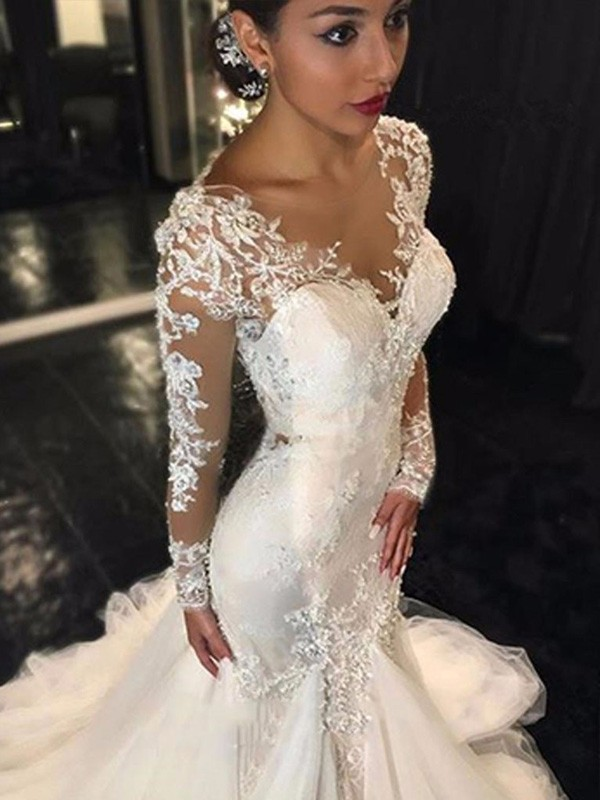 Court Train Trumpet/Mermaid V-neck Long Sleeves Lace Tulle Wedding Dresses