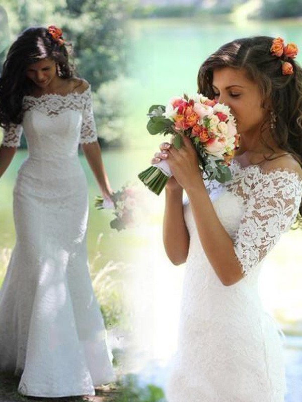 Sweep/Brush Train Trumpet/Mermaid Off-the-Shoulder 1/2 Sleeves Lace Wedding Dresses