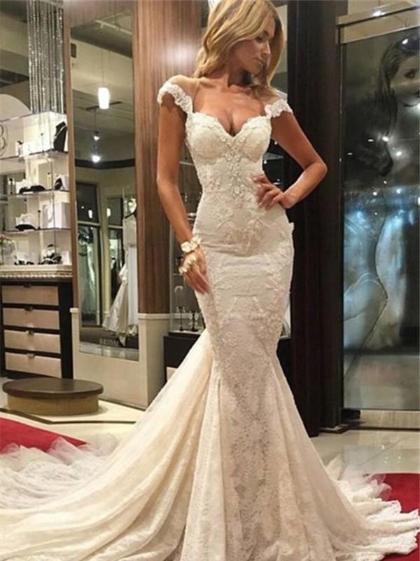 Chapel Train Trumpet/Mermaid V-neck Sleeveless Lace Wedding Dresses