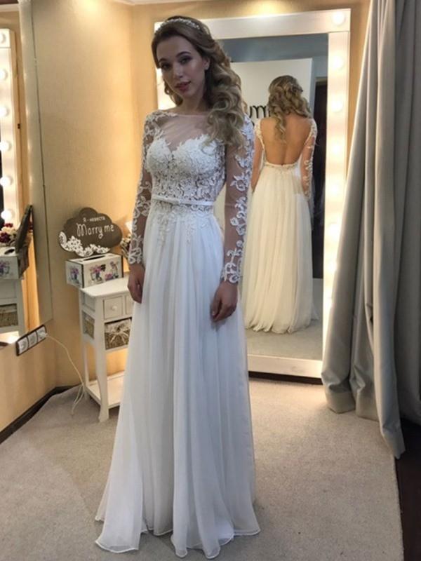 Floor-Length A-Line/Princess Bateau Long Sleeves Lace Chiffon Wedding Dresses