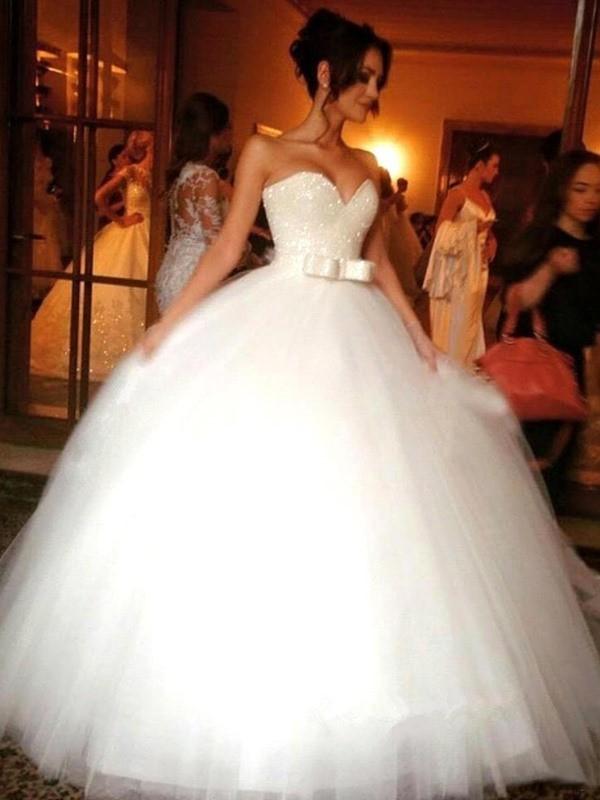 Floor-Length Ball Gown Sweetheart Sleeveless Bowknot Tulle Wedding Dresses