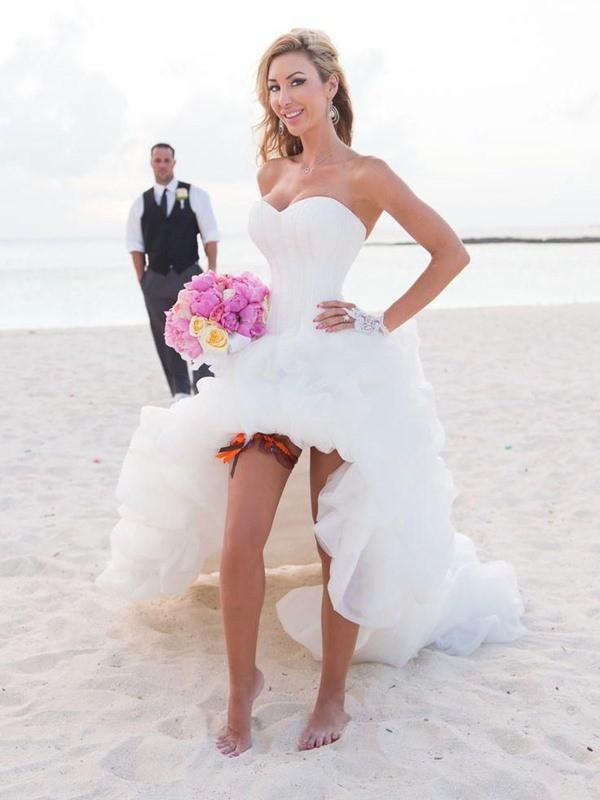 Asymmetrical A-Line/Princess Sweetheart Sleeveless Organza Wedding Dresses