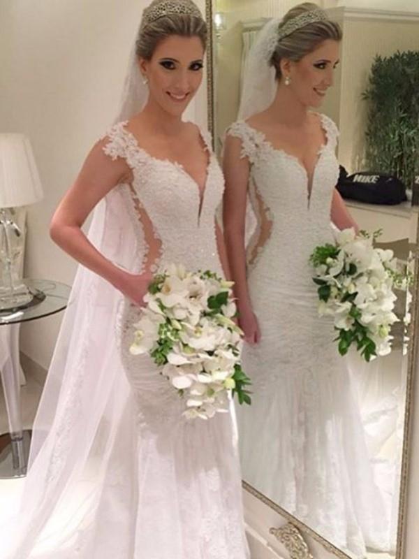Sweep/Brush Train Trumpet/Mermaid V-neck Sleeveless Lace Wedding Dresses