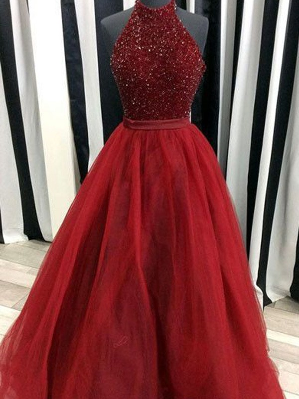 Floor-Length Ball Gown High Neck Sleeveless Beading Organza Dresses