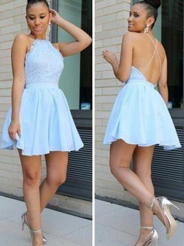 Short/Mini A-Line/Princess Halter Sleeveless Lace Chiffon Dresses
