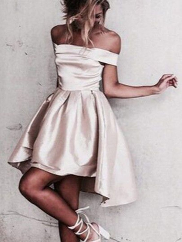 Short/Mini A-Line/Princess Off-the-Shoulder Sleeveless Satin Dresses