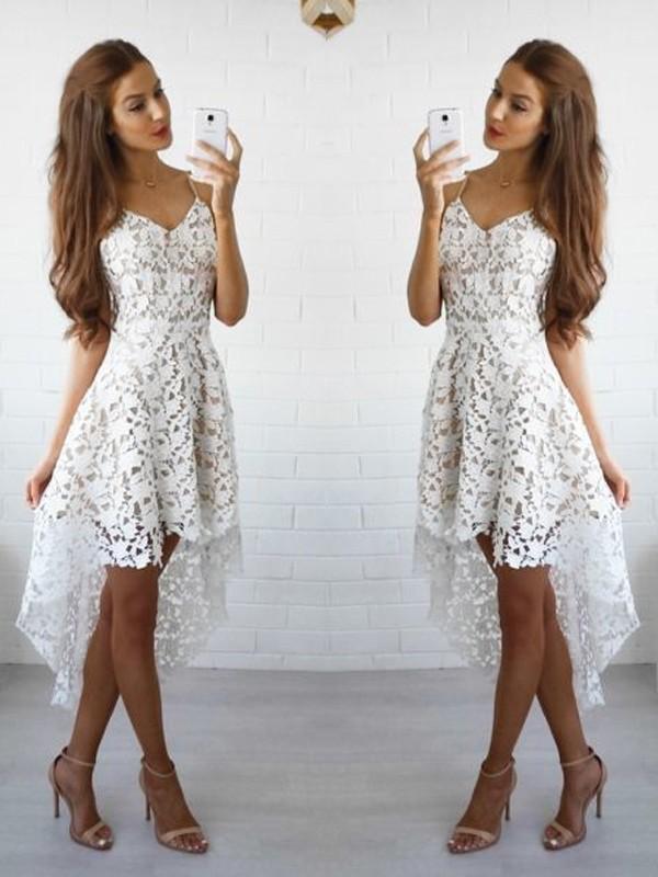 Short/Mini A-Line/Princess Spaghetti Straps Sleeveless Lace Dresses
