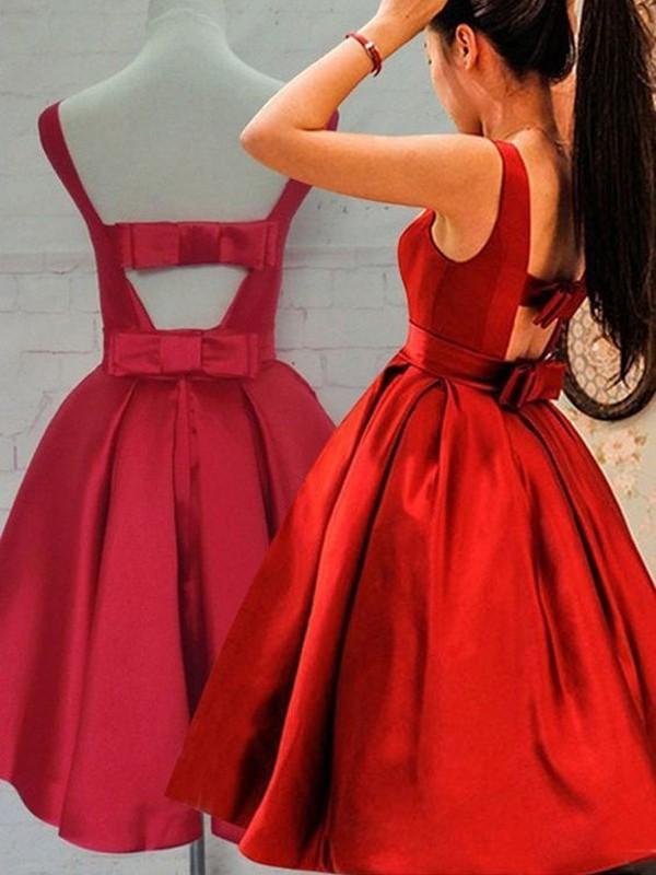 Short/Mini A-Line/Princess Scoop Sleeveless Sash/Ribbon/Belt Satin Dresses