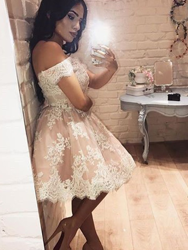 Short/Mini A-Line/Princess Off-the-Shoulder Sleeveless Lace Dresses