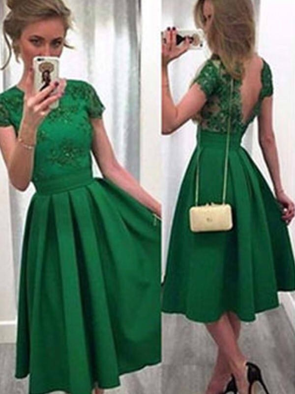 Short/Mini A-Line/Princess Scoop Short Sleeves Lace Satin Dresses