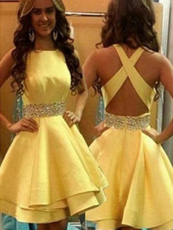 Short/Mini A-Line/Princess Scoop Sleeveless Beading Satin Dresses