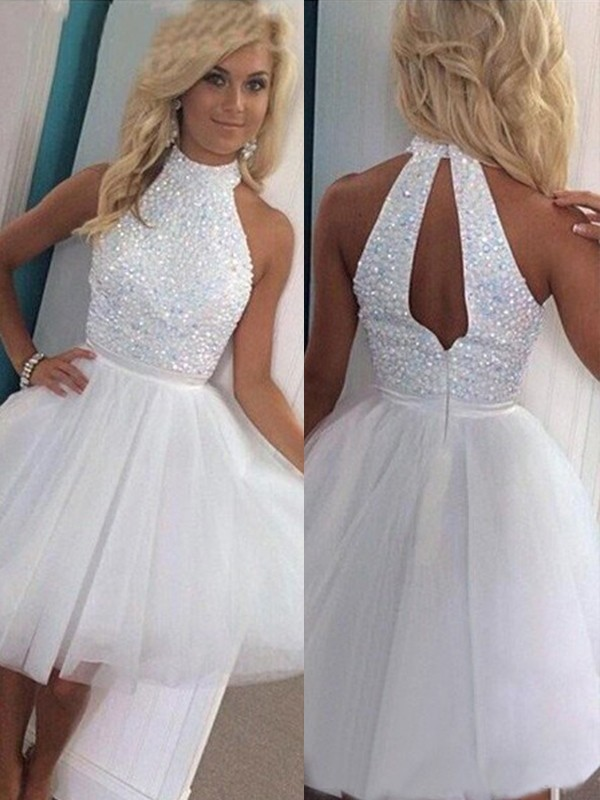 Short/Mini A-Line/Princess Halter Sleeveless Beading Tulle Dresses