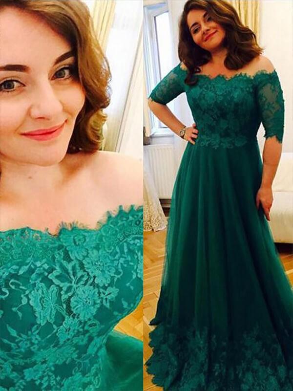 Floor-Length A-Line/Princess Off-the-Shoulder Short Sleeves Applique Tulle Dresses