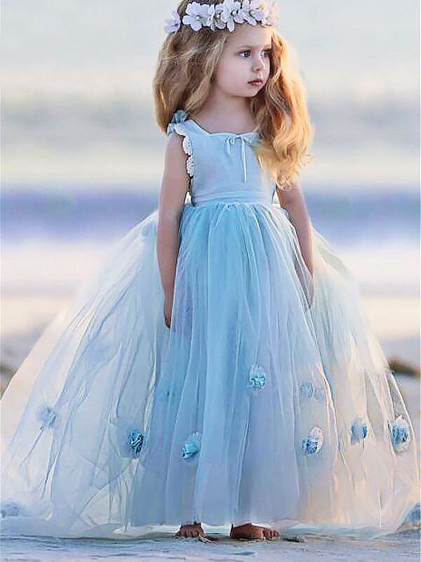 Floor-Length Ball Gown Bateau Sleeveless Hand-Made Flower Tulle Flower Girl Dresses