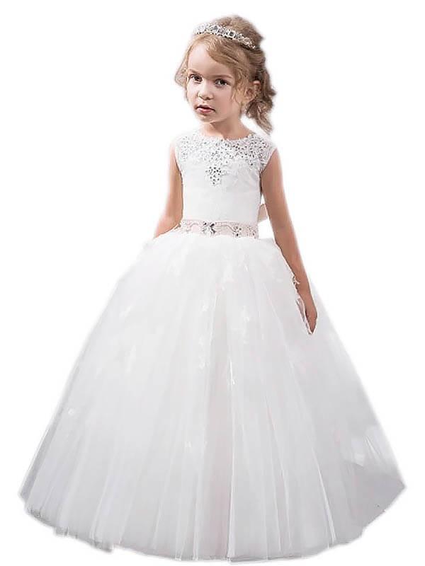 Floor-Length Ball Gown Jewel Sleeveless Crystal Tulle Flower Girl Dresses