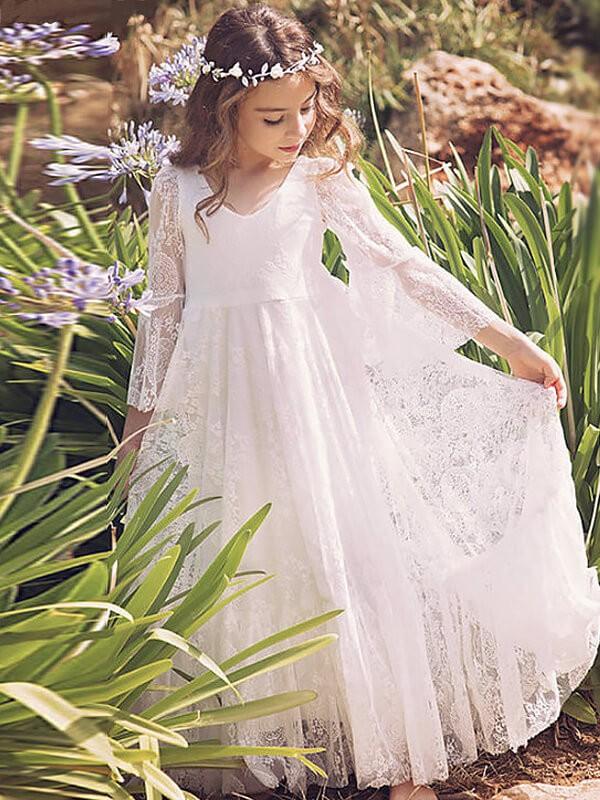 Floor-Length A-Line/Princess V-neck Long Sleeves Lace Flower Girl Dresses