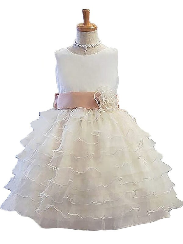 Short/Mini A-Line/Princess Jewel Sleeveless Hand-Made Flower Tulle Flower Girl Dresses