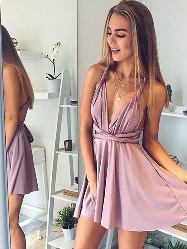 Short/Mini A-Line/Princess V-neck Sleeveless Silk like Satin Dresses