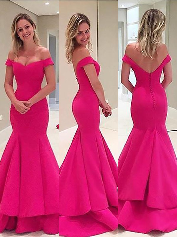 Sweep/Brush Train Trumpet/Mermaid Off-the-Shoulder Sleeveless Layers Satin Dresses
