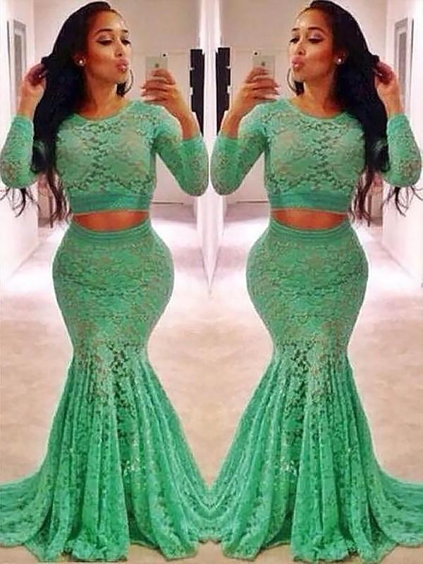Sweep/Brush Train Trumpet/Mermaid Scoop Long Sleeves Ruffles Lace Dresses