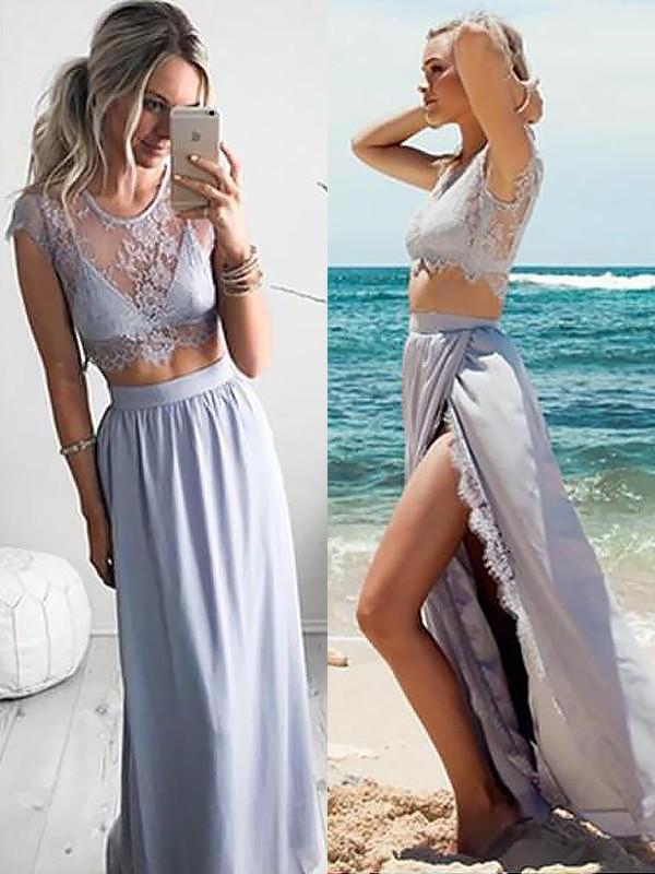 Floor-Length A-Line/Princess Jewel Sleeveless Lace Satin Dresses