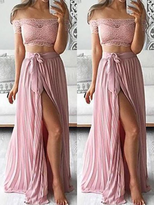 Floor-Length A-Line/Princess Off-the-Shoulder Sleeveless Lace Chiffon Dresses