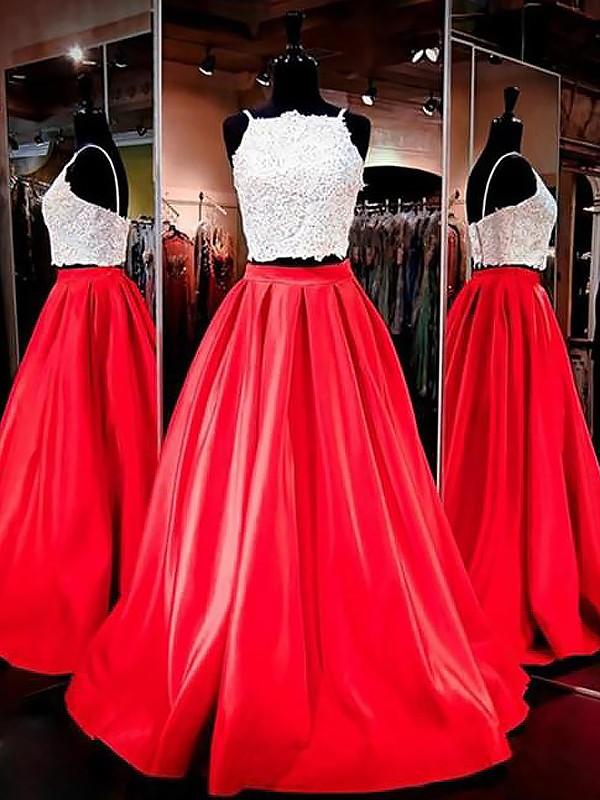 Floor-Length A-Line/Princess Spaghetti Straps Sleeveless Lace Satin Dresses