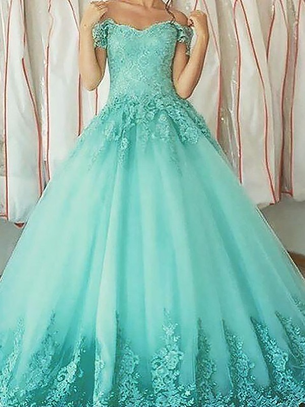 Floor-Length Ball Gown Off-the-Shoulder Sleeveless Applique Tulle Dresses