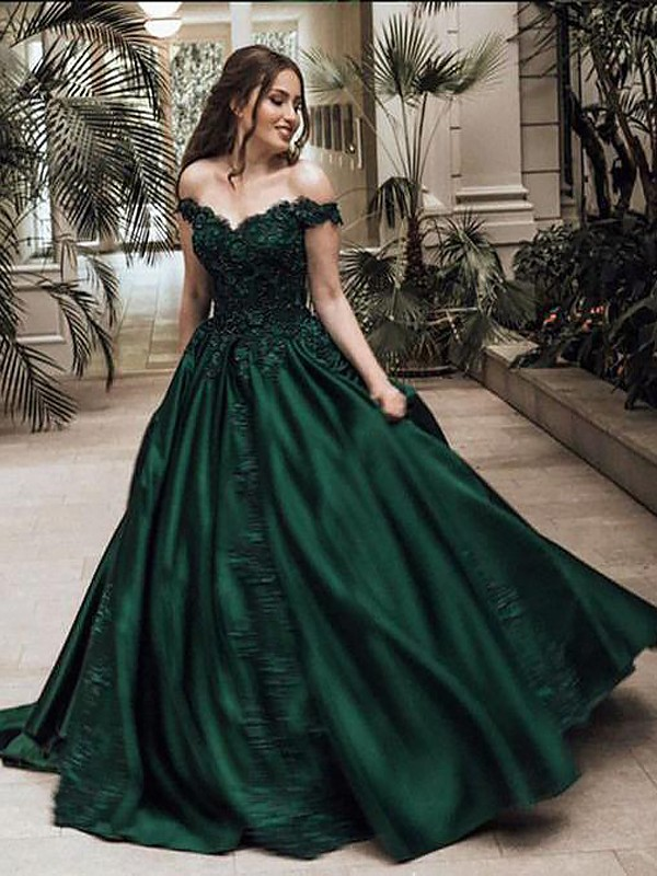 Floor-Length Ball Gown Off-the-Shoulder Sleeveless Lace Satin Dresses