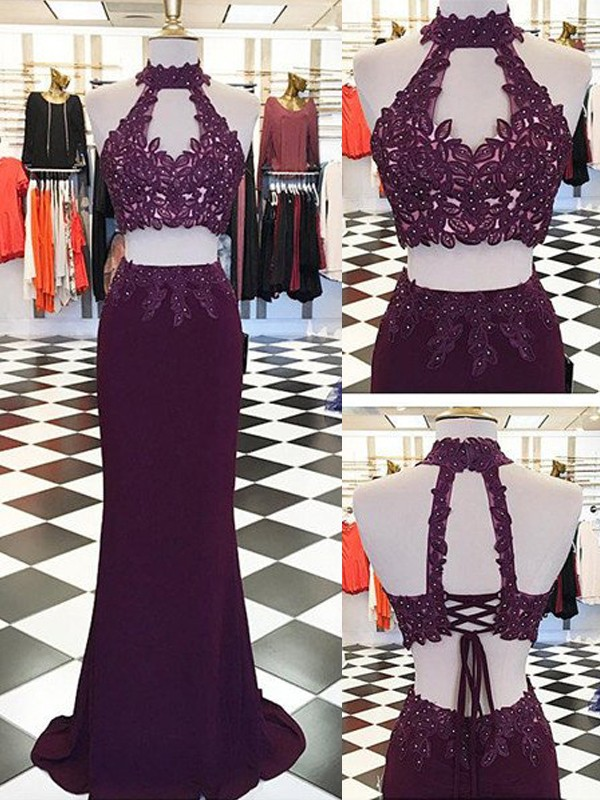 Floor-Length Sheath/Column Halter Sleeveless Applique Spandex Dresses