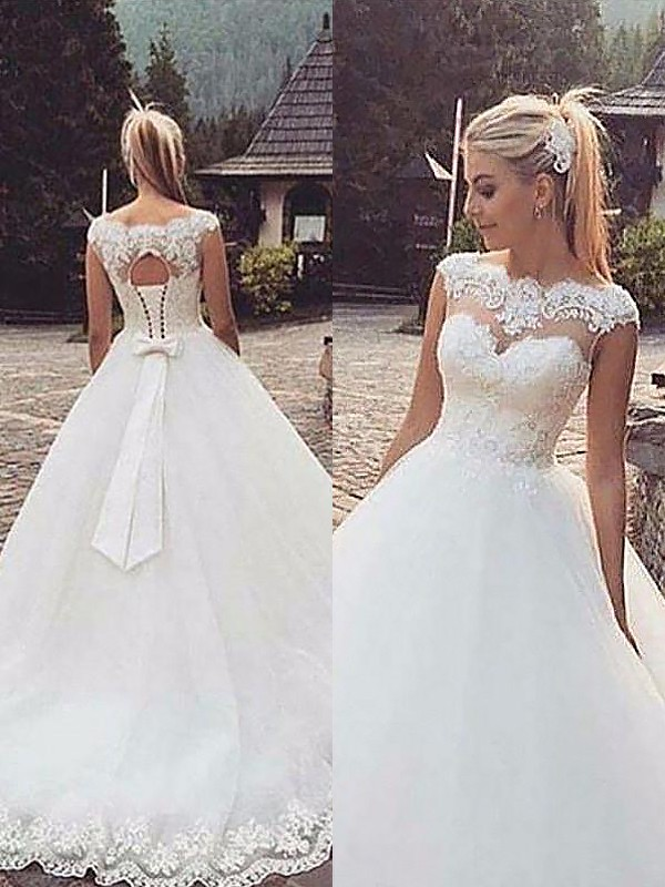 Court Train Ball Gown Sleeveless Bateau Tulle Wedding Dresses
