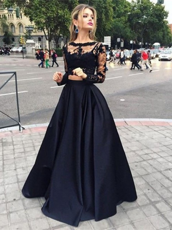 Floor-Length Ball Gown Bateau Long Sleeves Beading Satin Dresses