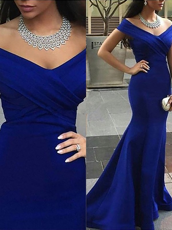 Sweep/Brush Train Trumpet/Mermaid Off-the-Shoulder Sleeveless Other Satin Dresses