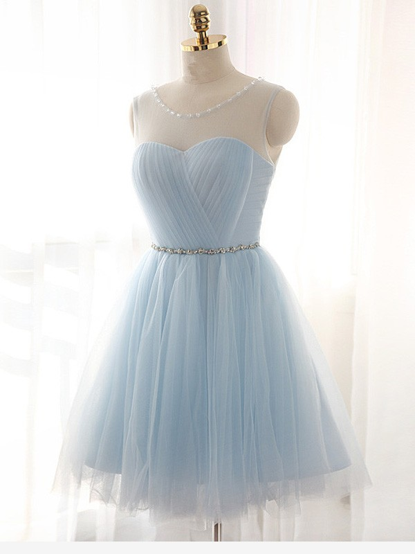 Short/Mini A-Line/Princess Scoop Sleeveless Beading Tulle Dresses