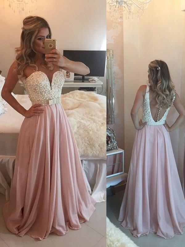Floor-Length A-Line/Princess Sweetheart Sleeveless Pearls Chiffon Dresses