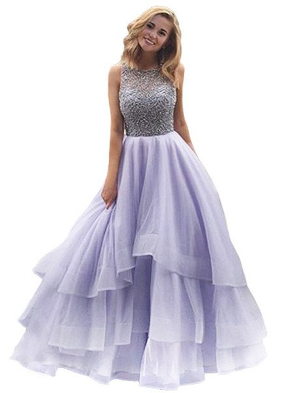 Floor-Length Ball Gown Scoop Sleeveless Beading Organza Dresses