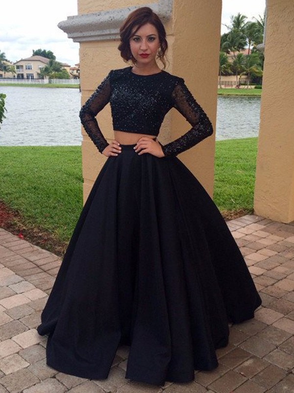 Floor-Length Ball Gown Scoop Long Sleeves Beading Satin Dresses