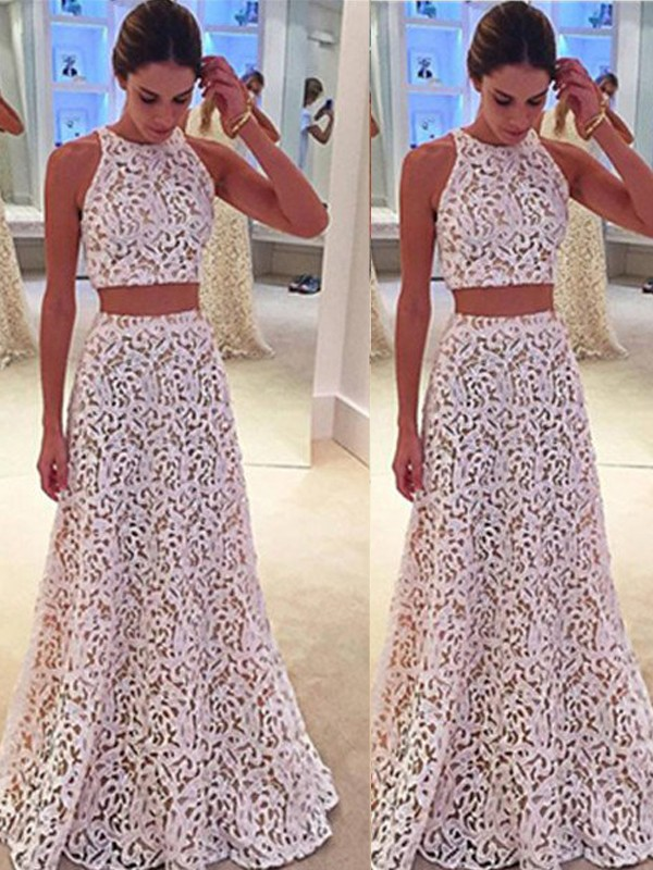 Floor-Length A-Line/Princess Scoop Sleeveless Lace Lace Dresses