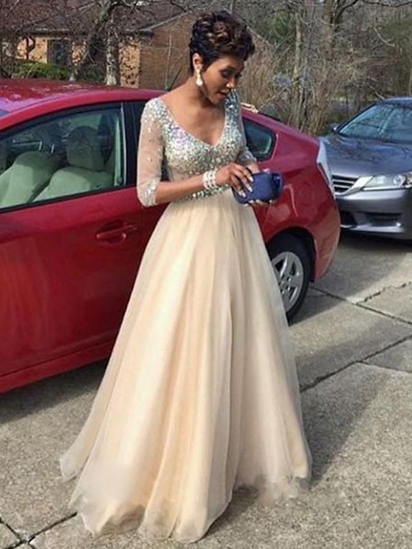 Floor-Length A-Line/Princess V-neck Long Sleeves Beading Tulle Dresses