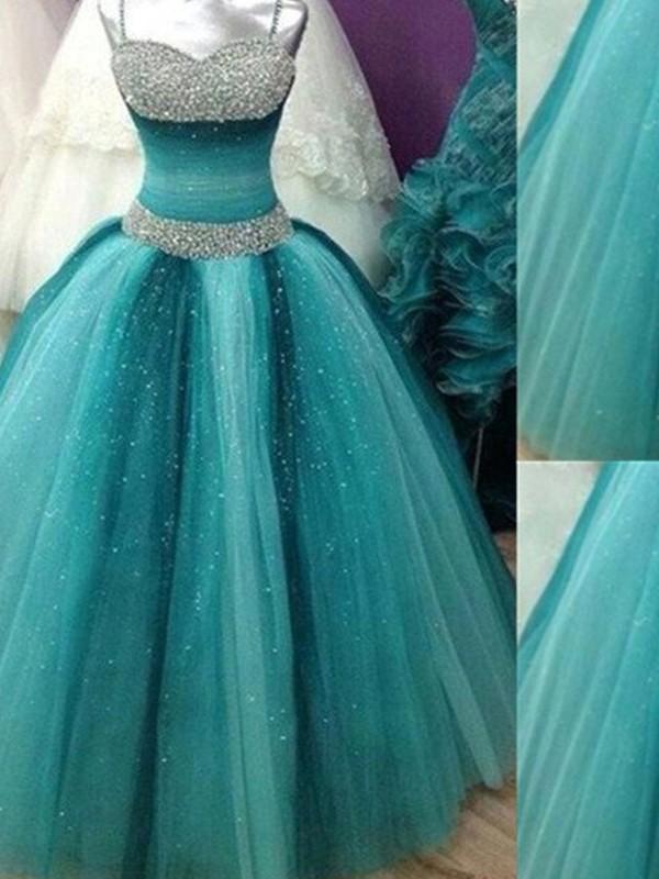 Floor-Length Ball Gown Spaghetti Straps Sleeveless Beading Tulle Dresses