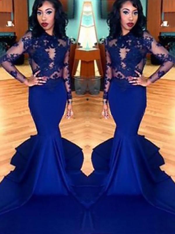 Sweep/Brush Train Trumpet/Mermaid Scoop Long Sleeves Lace Elastic Woven Satin Dresses