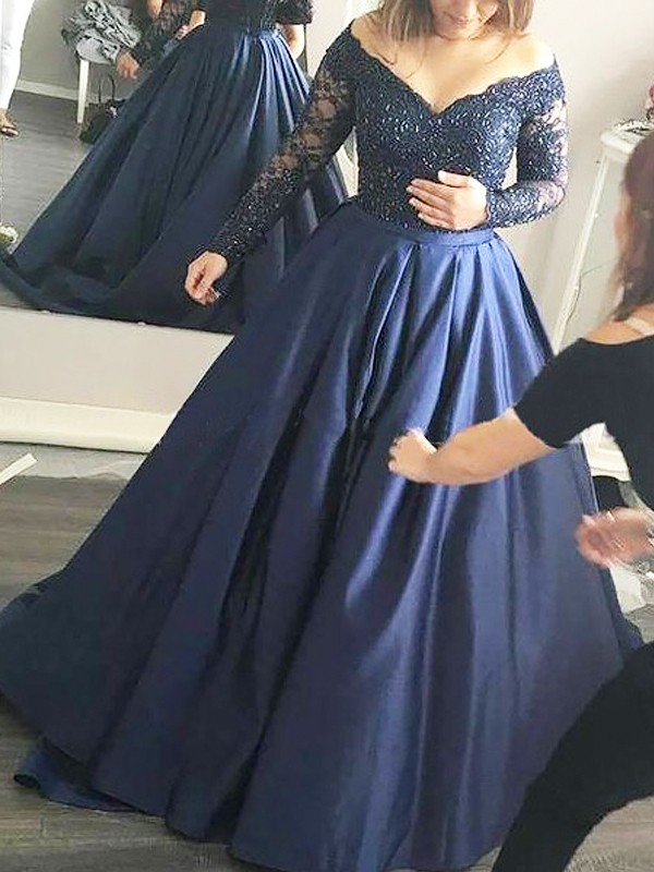 Sweep/Brush Train Ball Gown Off-the-Shoulder Long Sleeves Beading Satin Dresses