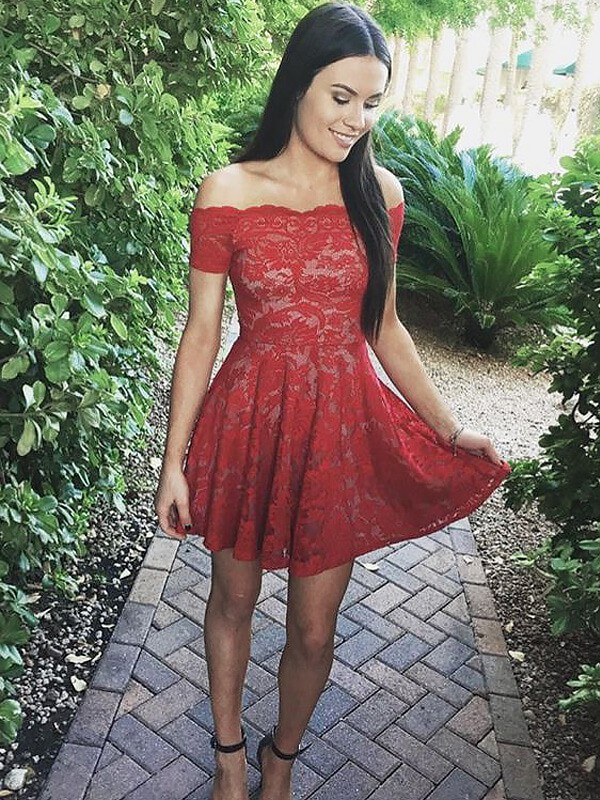 Short/Mini A-Line/Princess Off-the-Shoulder Short Sleeves Lace Dresses
