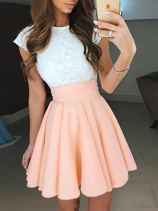 Short/Mini A-Line/Princess Jewel Sleeveless Lace Chiffon Dresses