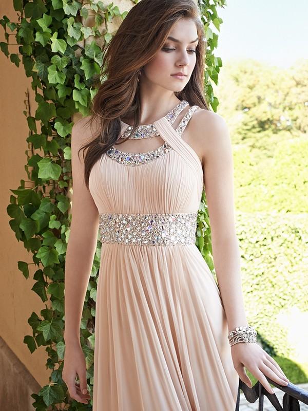 Floor-Length A-Line/Princess Bateau Sleeveless Beading Chiffon Dresses