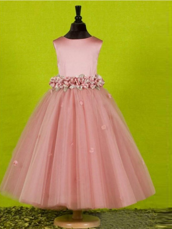 Tea-Length A-Line/Princess Scoop Sleeveless Bowknot Tulle Flower Girl Dresses