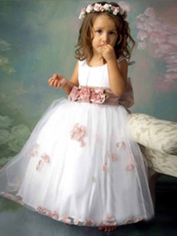 Floor-Length A-Line/Princess Scoop Sleeveless Hand-Made Flower Tulle Flower Girl Dresses