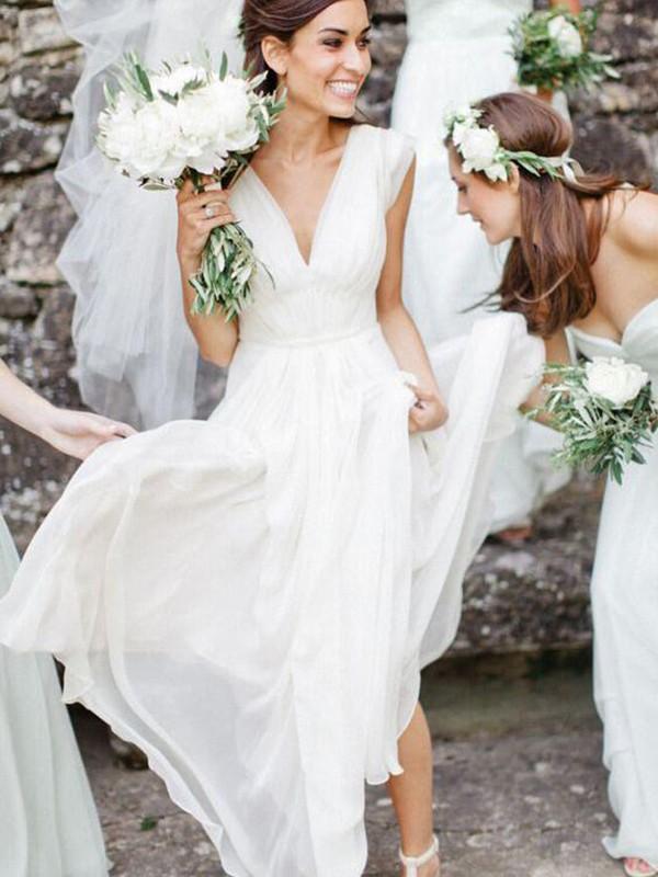 Floor-Length A-Line/Princess V-neck Sleeveless Chiffon Dresses